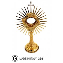 Monstrance with die-cast foot Center with clouds and Angels h 40 cm