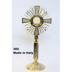 Monstrance chiseled + the 4 evangelists in cast mounted the node H 60 cm