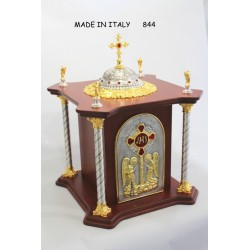 Tabernacolo in legno di betulle Con Porta e vari parti in bronzo H68xL55xP55 cm misura porta 38x23,5 cm