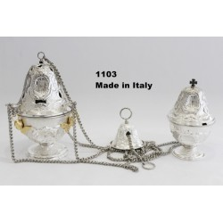 Thurible + ship entirely chiseled H 13.5 cm diameter 23.5 cm