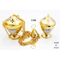 Thurible + Moses Basket with 12.5 cm diameter mounted symbols H 17 cm